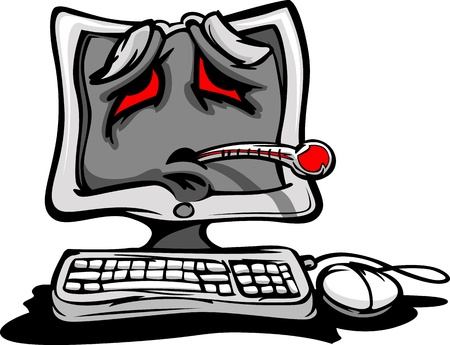 Cartoon Computer with Sick Face and Thermometer as though having a Software Virus or Bug
