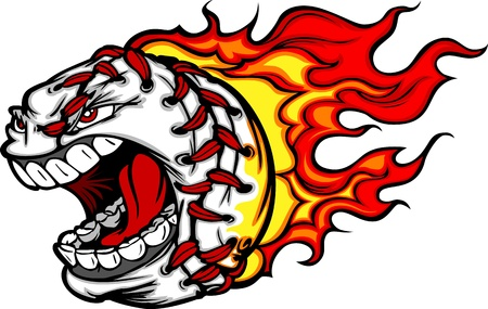 Cartoon Image of a Flaming Baseball with Angry Face