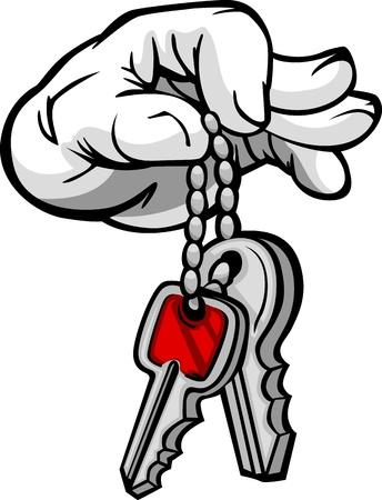 Cartoon Hand with Car or House Keys