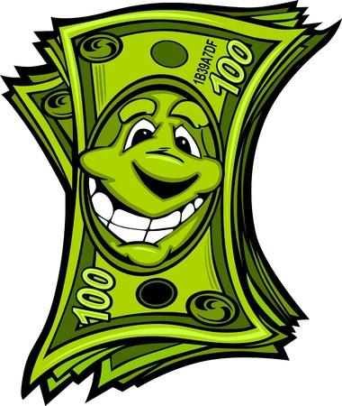 Cartoon Money Hundred Dollar Bills with Smiling Face Cartoon Image