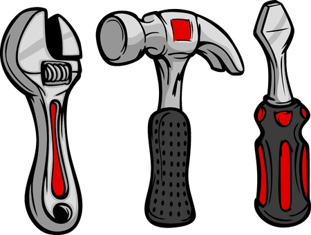 Cartoon Image of Home Repair Tools Hammer, Wrench and Screwdriver