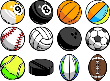 Vector Illustrations of Sport Balls - Baseball, Basketball, tennis, rugby and Billiards