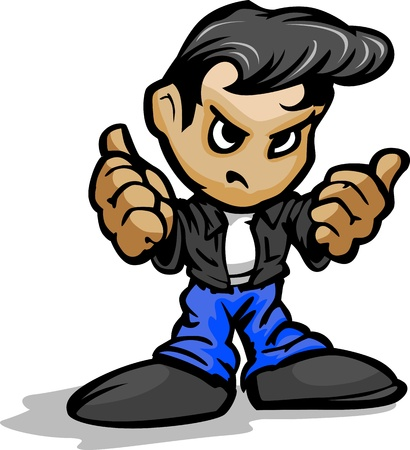 Cartoon Vector Illustration of a Cool 50Ã•s Greaser Kid with Jeans and Leather Jacket in Thumb up Gesture