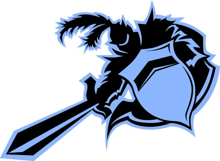 Warrior or Medievel Black Knight  Mascot with Shield