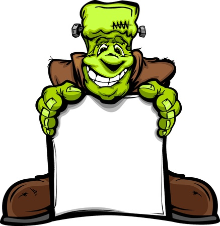 Cartoon Image of a Happy Halloween Monster Frankenstein Head Holding a Sign