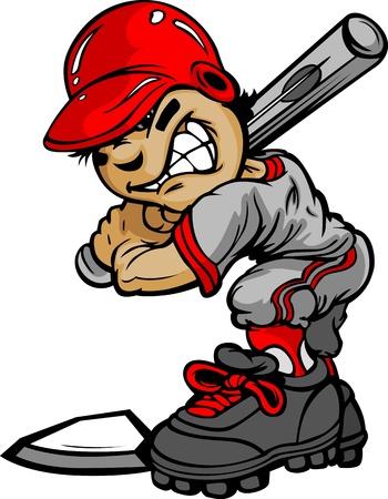 Fast Pitch Baseball Boy Cartoon Player with Bat  Illustration