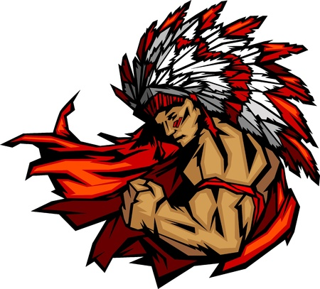 Illustration pour Graphic Native American Indian Chief Mascot with Headdress Flexing Arm   - image libre de droit