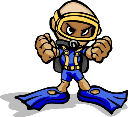 Cartoon Illustration of a Scuba Diver with Mask and Gear