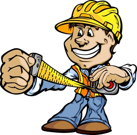 Professional Handyman Construction Worker with Tape Measure and Hard Hat Vector Illustration