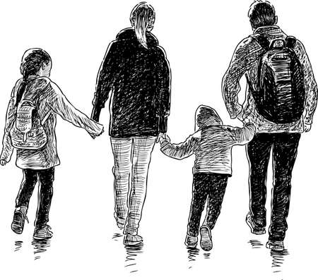 Illustration pour Vector drawing of an young family on a stroll. - image libre de droit