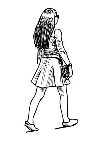 Illustration for Sketch of young girl striding down the street - Royalty Free Image