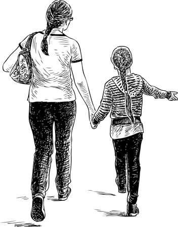 Illustration for A mother with her daughter going on a stroll - Royalty Free Image