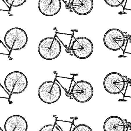 Illustration pour Seamless pattern of sketches city bicycle for active lifestyle - image libre de droit