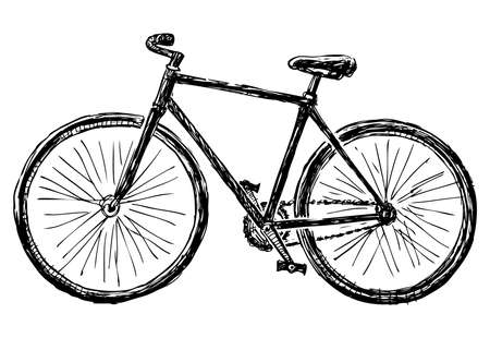 Illustration pour Freehand drawing of bicycle for active walks - image libre de droit