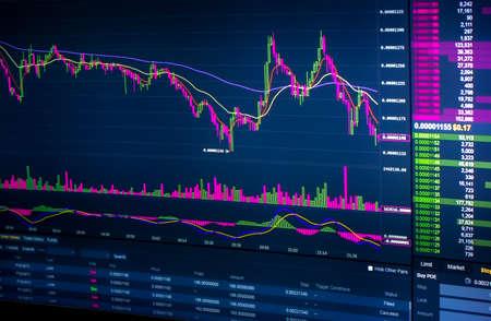 Photo pour Stockmarket diagram and grah on displayscreen - image libre de droit