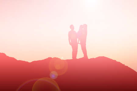 Photo for silhouette of a happy family and happy time sunset - Royalty Free Image