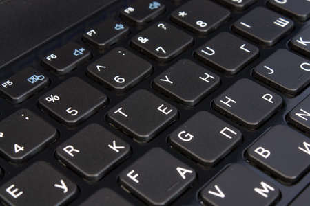 Technology background  Macro of laptop keyboard  Shallow depth of field, black and white image