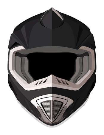 Illustration pour Black motorcycle helmet on a white background - image libre de droit