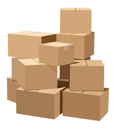 Illustration pour Pile of cardboard boxes on a white background - image libre de droit