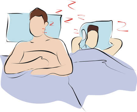 man sleeping and snore loundy  untill his wife cannot sleep