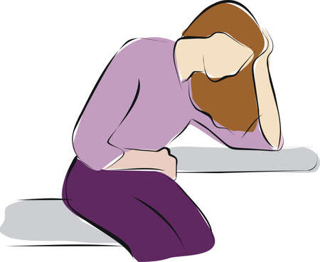 woman sitting because stomach ache