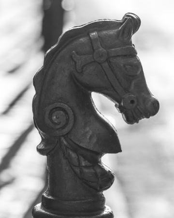 A sidewalk horse post / horse tie in the French Quarter of New Orleans
