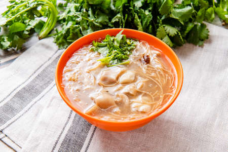Photo for pork large intestine vermicelli soup, Taiwanese noodle cuisine Night Market in Taiwan - Royalty Free Image