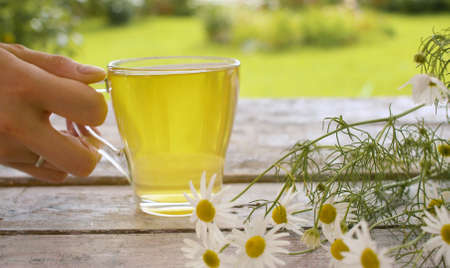 Photo for Close-up transparent cup of chamomile tea on the wooden table outdoors. A bouquet of daisies on the table. Herbal medicine concept - Royalty Free Image