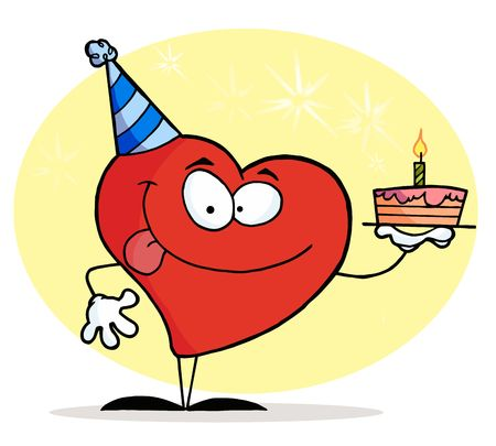 Red Heart Character Wearing A Hat And Holding A Birthday Cake