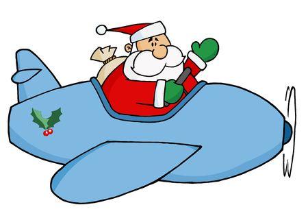 Waving Kris Kringle Flying His Christmas Plane