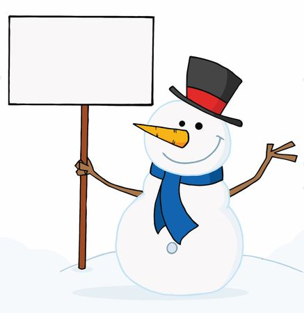 Joyous Snowman Holding A Blank Sign On A Hill