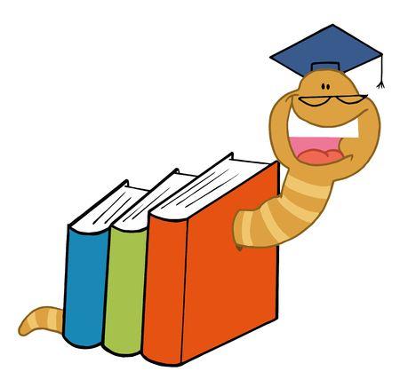 Successful Worm Graduate Crawling Through Colorful Books