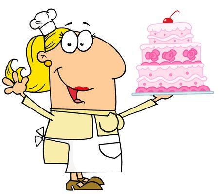 Caucasian Cartoon Cake Baker Woman