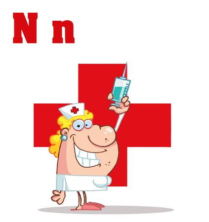 Illustration pour Nurse With Letters N - image libre de droit