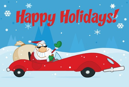 Happy Holidays Greeting With Santa Driving In The Snow