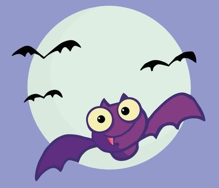 Flying Purple Vampire Bat And Full Moon