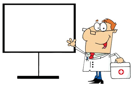 Friendly Male Doctor Standing By A Blank Board