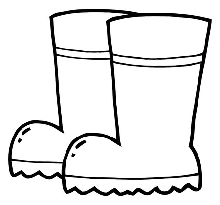 Coloring Page Outline Of A Pair Of Gardening Rubber Boots