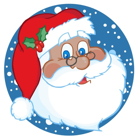 Illustration for African American Classic Santa Claus Face  - Royalty Free Image