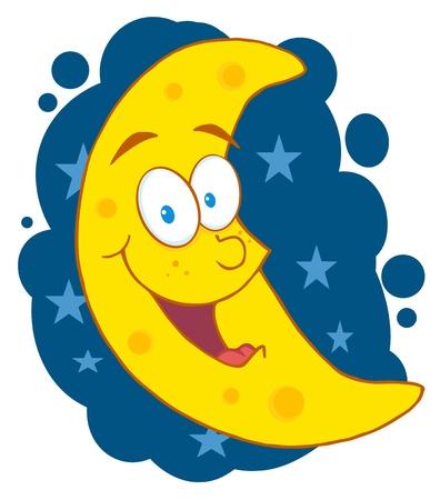 Happy Moon Mascot Cartoon Character In The Sky