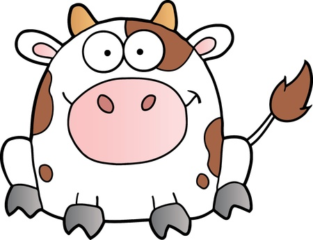 Cute White Cow Cartoon Mascot Character