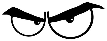 Outlined Angry Cartoon Eyes