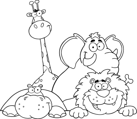 Photo for Outlined Four Jungle Animals - Royalty Free Image