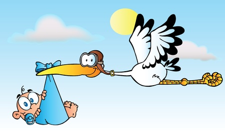 Illustration pour Stork Delivering A Baby Boy - image libre de droit