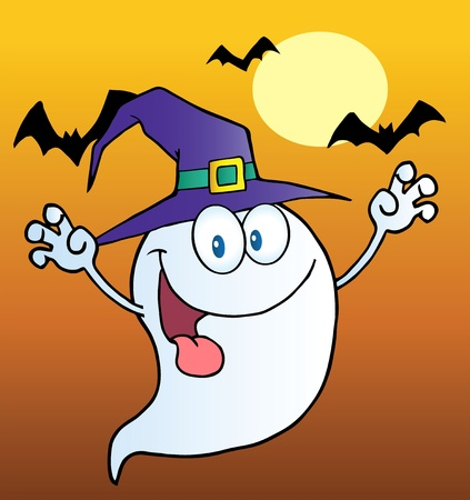 Spooky Ghost Wearing A Witch Hat Over Bats On Orange