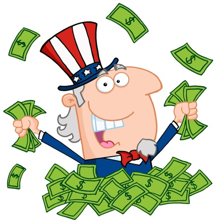 Uncle Sam Playing In A Pile Of Money