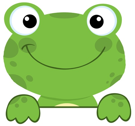 Cute Frog Smiling Over A Sign Board