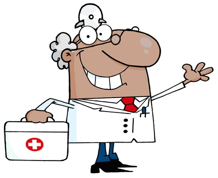 African American  Male Doctor With A First Aid Kit Waving