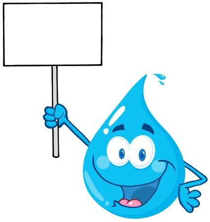 Happy Water Drop Character Holding Up A Blank Sign