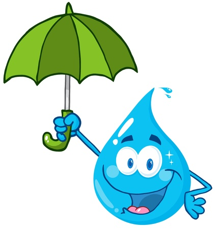 Smiling Water Drop With Umbrellaのイラスト素材